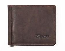 Зажим для денег Зиппо (Zippo), коричневый, натуральная кожа, 10,5x1x9 см