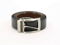 Ремень Кросс (Cross) Manresa, двухсторонний, кожа наппа гладкая, цвет чёрный/коричневый, 126 х 3,5 см