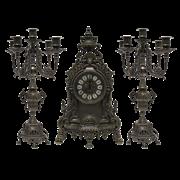 Часы каминные и 2 канделябра Барокко на 5 свечей, под бронзу AL-82-103-C-ANT