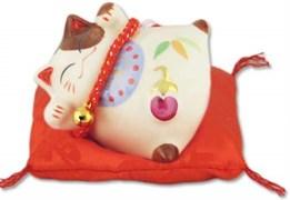 Манеки-Неко японский кот-копилка  Благополучие и Здоровья детям! , белый YC-10334-A