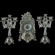 Часы каминные с канделябрами на 5 свечей, под бронзу AL-82-101-C-ANT