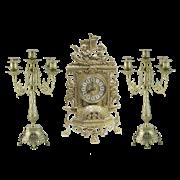 Часы каминные с канделябрами на 5 свечей AL-82-101-C