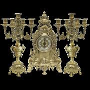 Часы каминные и 2 канделябра Барокко на 5 свечей AL-82-103-C