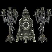 Часы каминные и 2 канделябра Купидон на 5 свечей, под бронзу AL-82-103-P-ANT