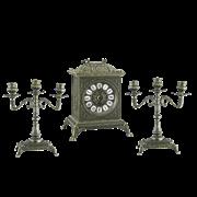 Часы каминные бронза и 2 канделябра AL-82-108-A-ANT