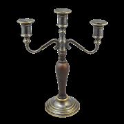 Канделябр на 3 свечи с деревянной вставкой на основании антик AL-80-384-ANT