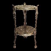 Столик круглый большой 24х46 см, 2 полки, бронза AL-82-263-ANT