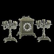 Часы Ларец каминные, 2 канделябра на 5 свечей, антик AL-82-108-B-ANT