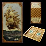 Нарды в деревянной коробке Морские SA-MO-L