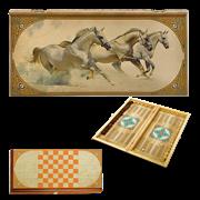 Нарды в деревянной коробке Лошади SA-LI-L
