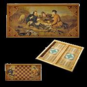Нарды в деревянной коробке Охотники на привале SA-OH-L