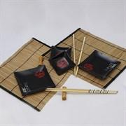 Восточная посуда набор для суши и роллов Дракон Заката на 2 персоны CC-2-BPS-11103-B