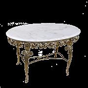 Столик Ренессанс овальный с мраморной столешницей, золото BP-50210-D