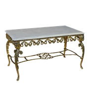 Столик Ренессанс прямоугольный с мраморной столешницей, золото BP-50211-D