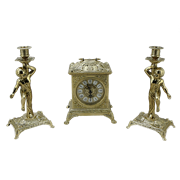 Часы Ларец каминные, 2 канделябра Амур на 1 свечу AL-82-108-C