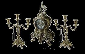 Часы каминные с канделябрами в наборе Дон Луиш, антик BP-25050-A