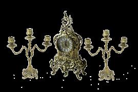 Часы Ласу каминные с канделябрами в наборе, золото BP-25038