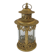 Фонарь садовый, под свечу,  золотая патина FY-160210-S-F129