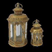 Фонари садовые, пара, под свечу,  золотая патина FY-160197-LS-F129