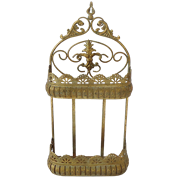 Кашпо настенное 2-х ярусное для цветов  декоративное,  золотая патина FY-160230-F129