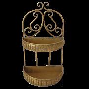 Кашпо настенное 2-х ярусное для цветов  декоративное,  золотая патина FY-160235-F129