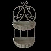 Кашпо настенное 2-х ярусное для цветов  декоративное,  белая патина FY-160235-MD