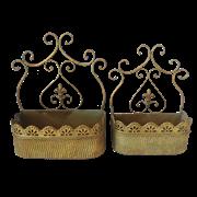 Кашпо настенное, пара,  для цветов  декоративное,  золотая патина FY-160094-LS-F129