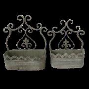 Кашпо настенное, пара,  для цветов  декоративное,  белая патина FY-160094-LS-MD