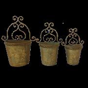 Кашпо настенное, набор из 3-х,  для цветов   золотая патина FY-160168-LMS-F129