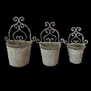 Кашпо настенное, набор из 3-х,  для цветов  декоративное,  белая патина FY-160168-LMS-MD