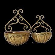 Кашпо подвесное, пара,  для цветов уличное,  золотая патина FY-155025-LS-F129