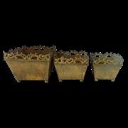 Кашпо напольное, набор из 3-х,  для цветов   золотая патина FY-160092-LMS-F129