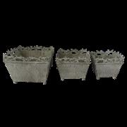 Кашпо напольное, набор из 3-х,  для цветов  декоративное,  белая патина FY-160092-LMS-MD