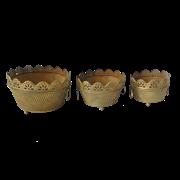 Кашпо напольное, набор из 3-х,  для цветов  декоративное,  золотая патина FY-160091-LMS-F129