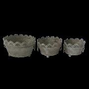 Кашпо напольное, набор из 3-х,  для цветов  декоративное,  белая патина FY-160091-LMS-MD