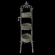 Этажерка металлическая 3-х ярусная для цветов   белая патина FY-160250-L-MD