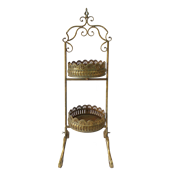 Этажерка 2-х ярусная для цветов  декоративная,  золотая патина FY-160250-S-F129