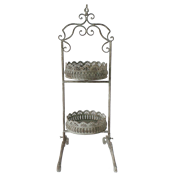 Этажерка металлическая 2-х ярусная для цветов  декоративная,  белая патина FY-160250-S-MD