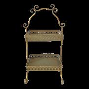 Этажерка 2-х ярусная для цветов  декоративная,  золотая патина FY-160356-F129
