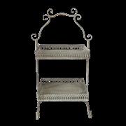 Этажерка 2-х ярусная для цветов  декоративная,  белая патина FY-160356-MD