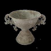 Кашпо напольное для цветов  декоративное,  белая патина FY-155046-MD