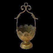 Кашпо подвесное для цветов  декоративное,  золотая патина FY-160030-L-F129