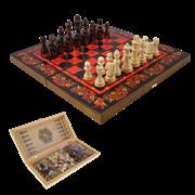 Набор игр шахматы нарды, шашки с доской Хохлома красная SA-SH-503