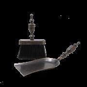 Набор для камина:совок большой + щетка плоская, антик AL-80-347-N-ANT
