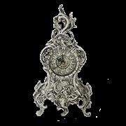 Часы Ласу каминные бронзовые с покрытием  серебро BP-28025-S
