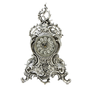 Часы Ласу каминные бронзовые с покрытием  серебро BP-27095-S