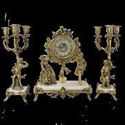 Часы каминные c канделябрами Пастораль на мраморной подставке BP-27062-14085-D
