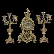 Часы антикварные каминные с маятником с канделябрами Сильвия BP-2707028-D