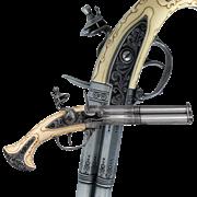 Пистоль 3-х ствольный, системы Флинтлок, Франция 18 в. DE-1309