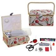 Шкатулка для рукоделия (с подносом и набором для шитья), L30,5 W23 H16 см